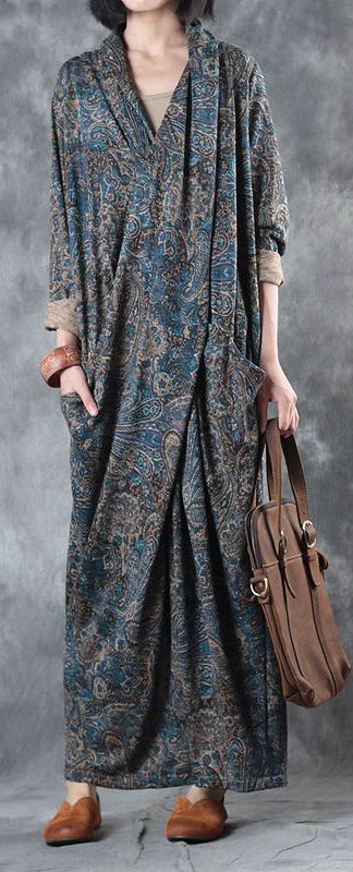 blue print vintage cotton dresses plus size thick maxi dress back open