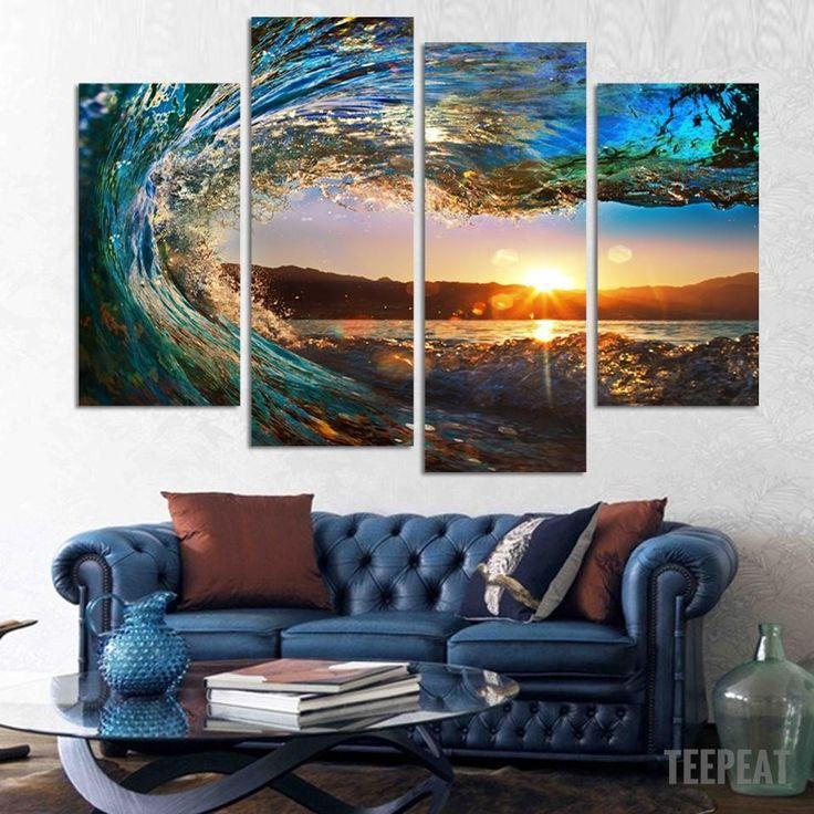 Sea wave 4 piece canvas