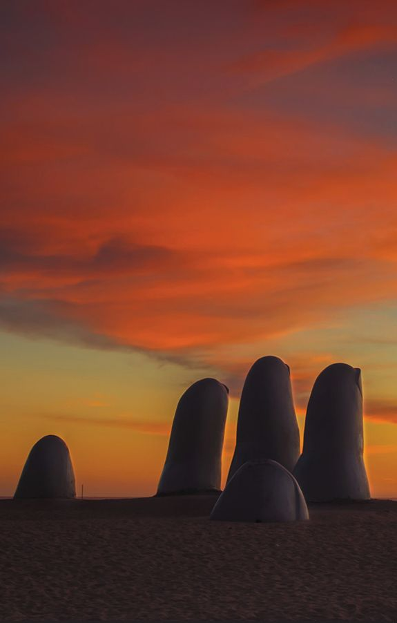 The Hand of Punta del Este is located on Brava Beach in Uruguay. It was made by Mario Irarrázabal in 1982.
