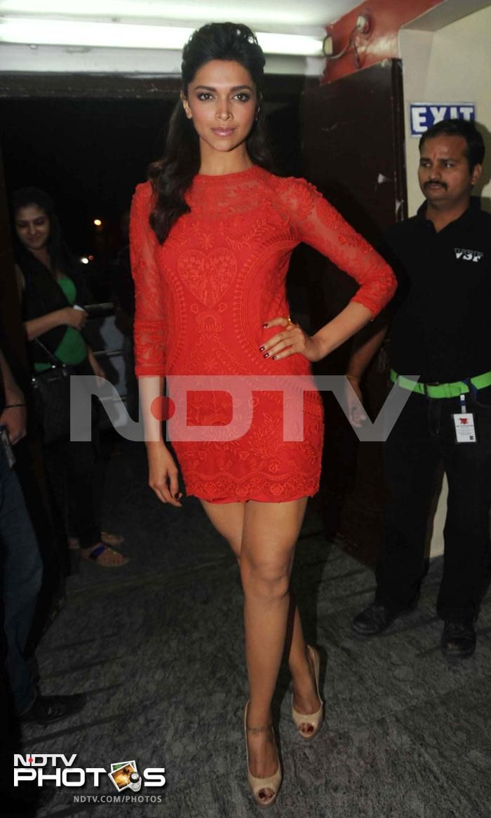 Racing beauties: Always impeccable, Deepika Padukone dressed to impress in a red minidress by Isabel Marant.