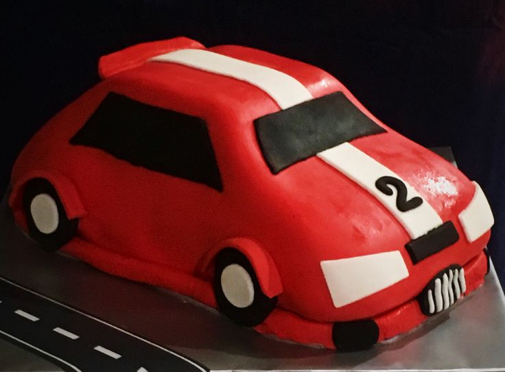 Red Race Car Birthday Cake for a little man turning 2. Chocolate Cake with Marshmallow Fondant.
