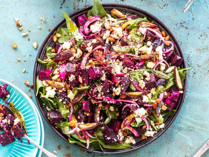 Beetroot, spiced almond, date and feta salad By Nadia Lim