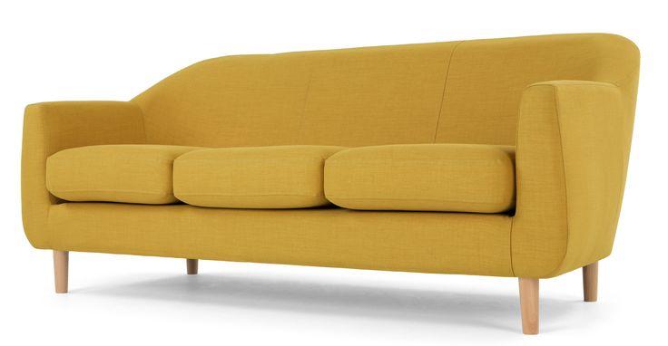 Tubby, canapé 3 places, jaune moutarde