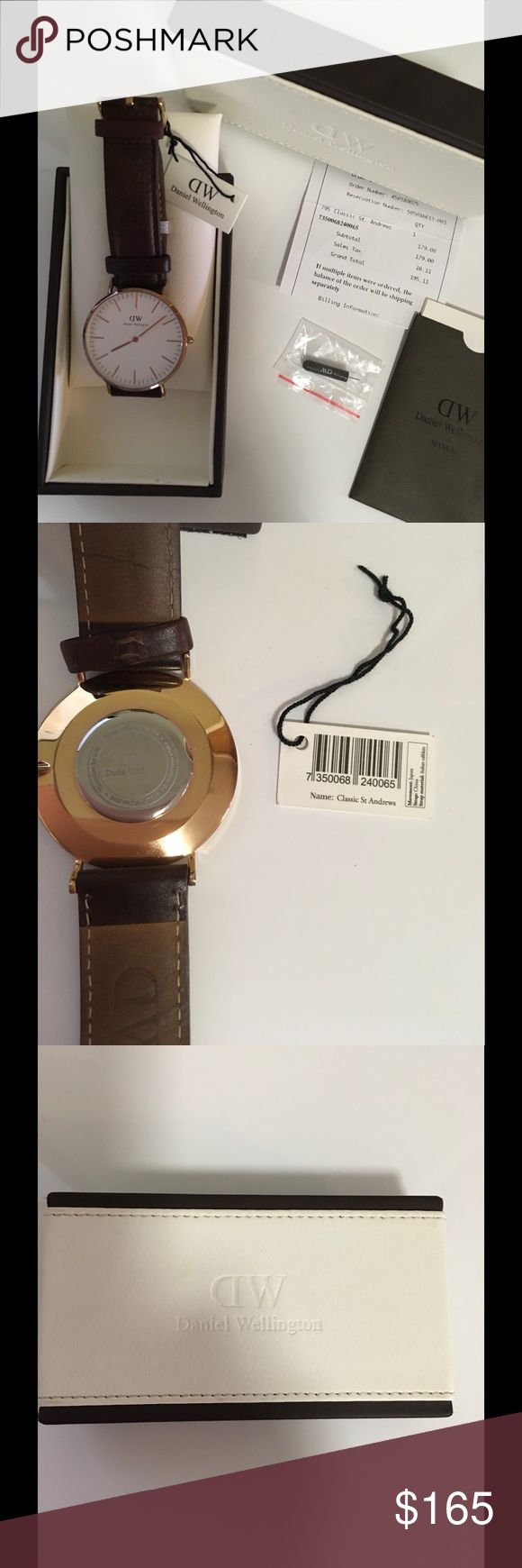 Gorgeous Daniel Wellington Watch. Gorgeous Daniel Wellington Watch 36mm. In Rose-Gold tone case, dark brown leather strap. Water resistant. Has some wear But in great condition (please see pics) Sorry No Trades. Daniel Wellington Accessories Watches