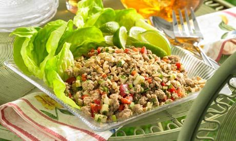 Thai larb chicken salad - yummy I love laab!