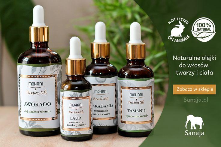 W naszej ofercie znajdziecie m.in. serię olejów od firmy Mohani do pielęgnacji włosów i każdego typu skóry. Produkty te są w pełni bezpieczne, naturalne i nie testowane na zwierzętach.  sanaja.pl