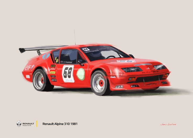 Renault Alpine 310. Promotion poster done for Renault Denmark. Painting by Jonas Linell 2016. #renault #alpine #renaultalpine #classiccar #vintagecars #racecars #racing #cars #carart
