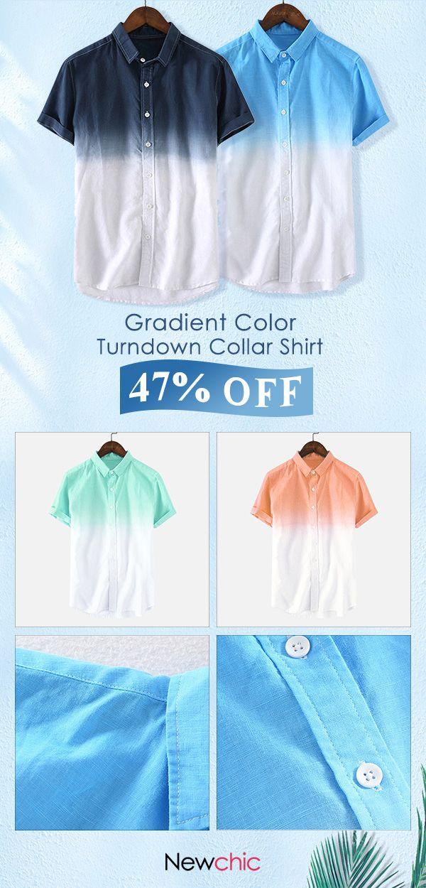 7d326b14c90a Mens Gradient Color Summer Short Sleeve Cotton Turndown Collar Casual Shirt