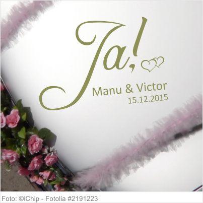 Autoaufkleber Hochzeit Ja mit Vornamen und Datum 06