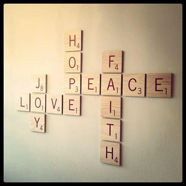 My apartment wall decoration...giant Scrabble tiles! I'm so happy it turned out!