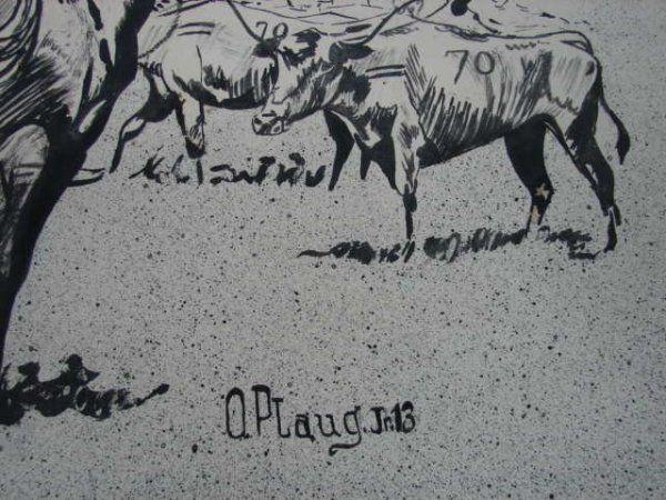 97: Otto Plaug, Cowboy on horseback, ink on paper, sign : Lot 97