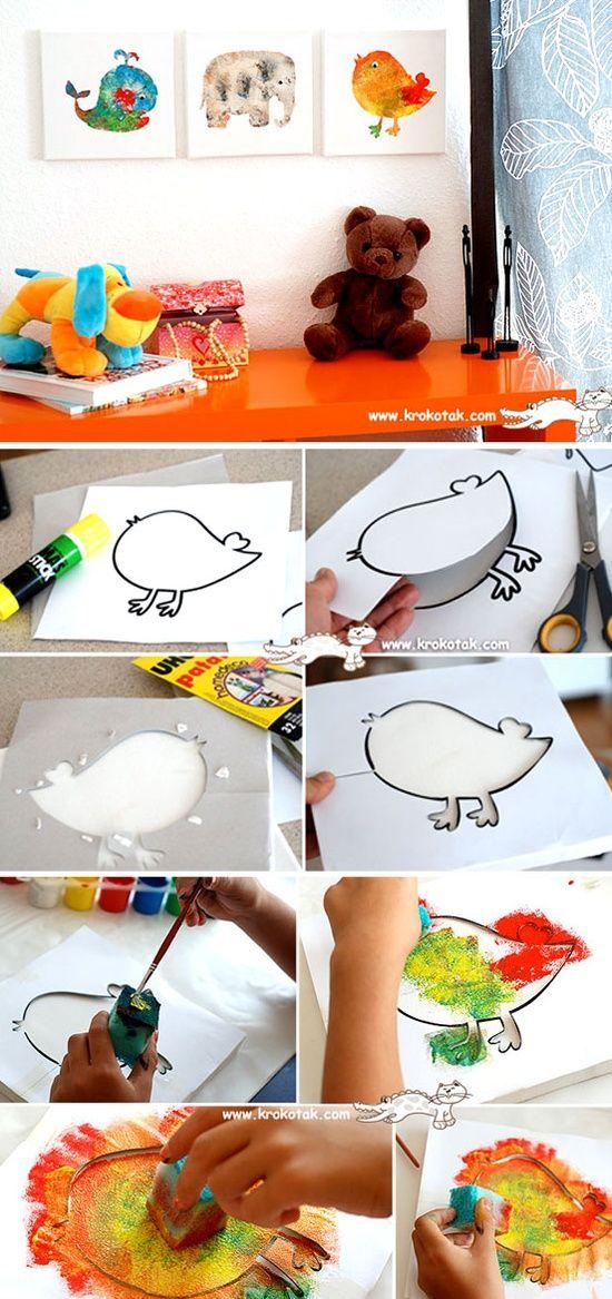 Adorável ideia para as crianças fazer com stencil e esponja
