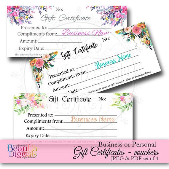 Gift Voucher Template Pre-made Gift Certificate Floral