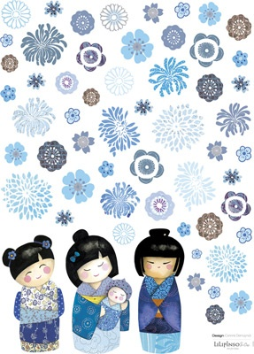 Lot stickers Fleurs bleues - Lilipinso and Co