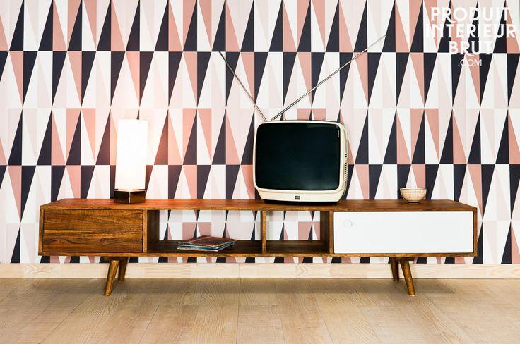 Stockholm tv-meubel - Geïnspireerd op de jaren '50, volledig gemaakt van massief…