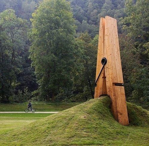 Giant Clothespin Sculpture located in Liege, Belgium: Sculpture designed by Turkish artist and professor Mehmet Ali Uysal