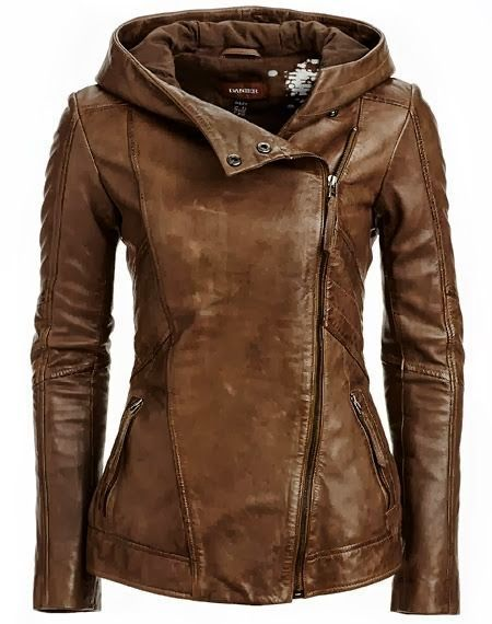 Stylish Hooded Long Sleeve Solid Color PU Women's Jacket