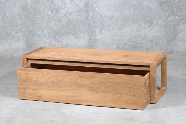 Coffre de lit constitu d 39 un banc et d 39 un tiroir for Meuble tv petite largeur