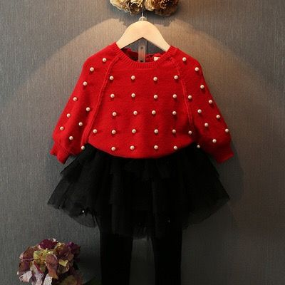 GL4001  2016/17 AW Trendy Girl's Fashion Pearl Beaded Red Sweater