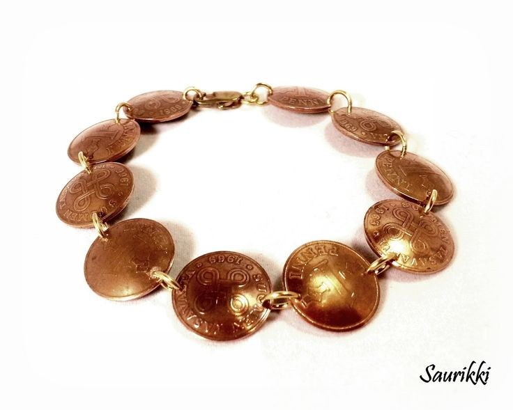 Bracelet made from old copper pennies