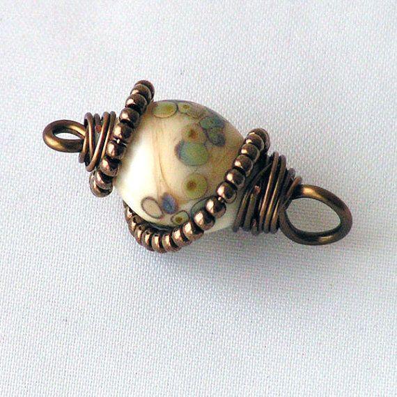 Cristal Colgante - alambre envuelto --- bronce