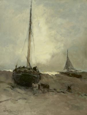 Hendrik Johannes 'J.H.' Weissenbruch (1824-1903) Fishing boats on the beach, oil on canvas. Collection Simonis & Buunk, The Netherlands.