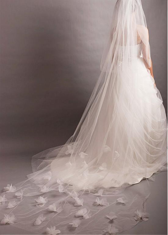 На складе Великолепный белый тюль двухуровневую завесу с Тюль цветами для вашего Гламурная Свадебное платье