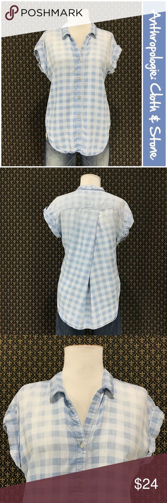 """Anthro """"Celestine Button Chambray Shirt"""" by Cloth By Cloth & Stone.  Great condition. 100% tencel, button front.  Shirttail like rounded hem with a slight high-low.  Meaurements are approximate and taken with the garment laid flat and unstretched:  20"""" armpit to armpit.  Hem goes as high as 20"""" at sides to 30"""" in middle back. 26"""" length center front.     ☘️Prices are firm and quite reasonable 🍀Smoke Free Home 🍀Bundles Welcome but please keep under 10 items (5lbs) 🍀Kitty household 🚫No…"""