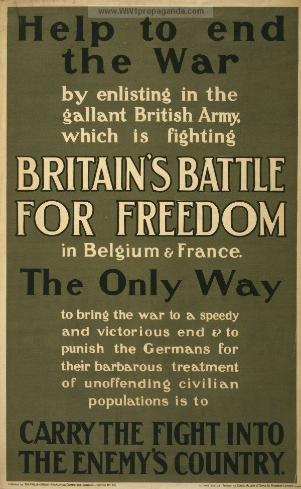 WW1 British enlistment poster
