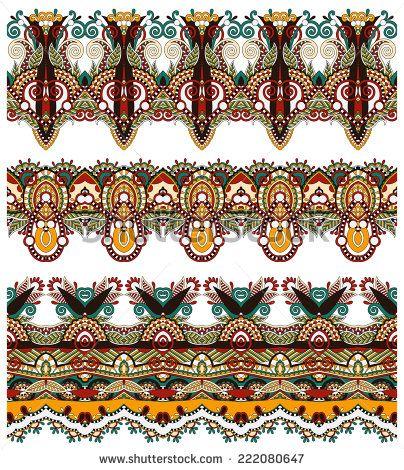 бесшовные этнических цветочные Пейсли узоров, границы множество, украинская племенная орнамент для печати или вышивки лентой, или для дизайна полиграфии или веб-сайтов, векторные иллюстрации - Векторный