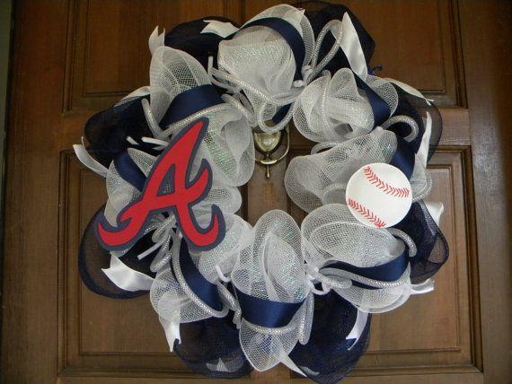 Deco Mesh Atlanta Braves Baseball Wreath. My next project.