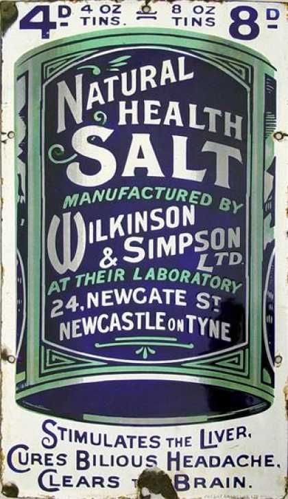 Wilkinson's & Simpson's Health Salts... Tin/ Enamel/ Porcellain Signs of Miscellaneous Years