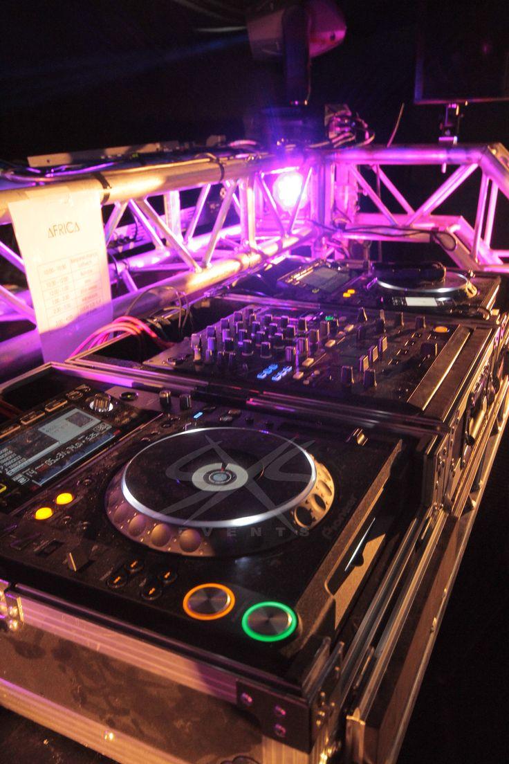 CDJ 2000 nexus and DJM 900 DJ equipment in situ with truss booth. www.sxsevents.co.uk