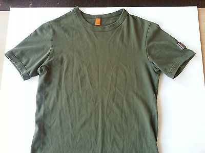 Khaki coloured tee with microchip logo on sleve