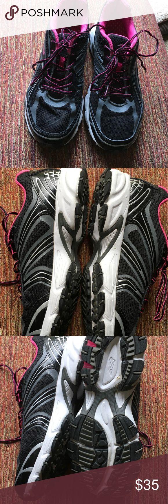 Avia sneakers, worn once. Black and grey mesh, pink lining.  Medium width.  042707 Avia Shoes Sneakers