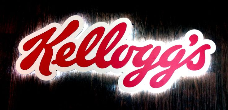 Illuminated logo sign for Kellogg's retail sign by Mustard Solutions www.mustardsolutions.co.uk