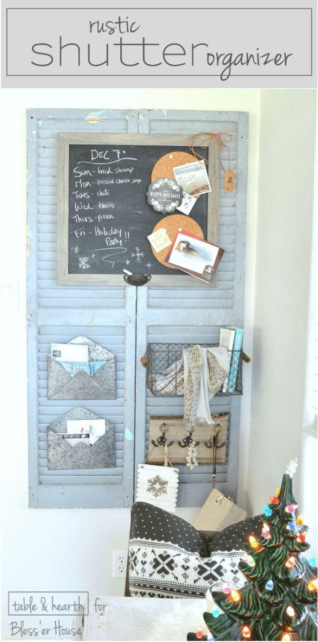 Beautifully rustic! These worn, weathered, and dirty old shutters were transformed into a cute rustic organizer! See the full tutorial at Bless'er House
