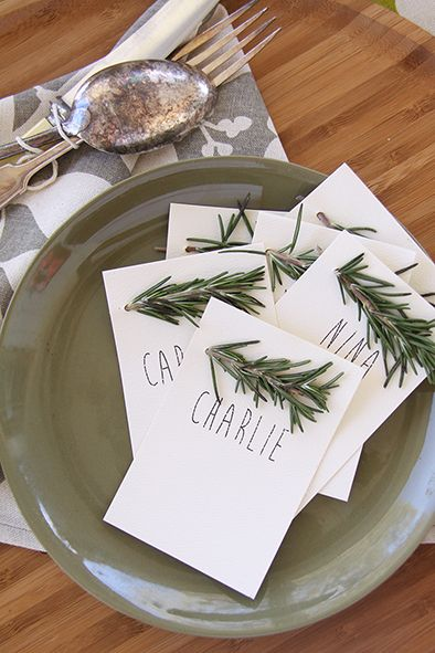 Succulent napkin in feather grey. Rosemary DIY place cards  www.dandi.com.au