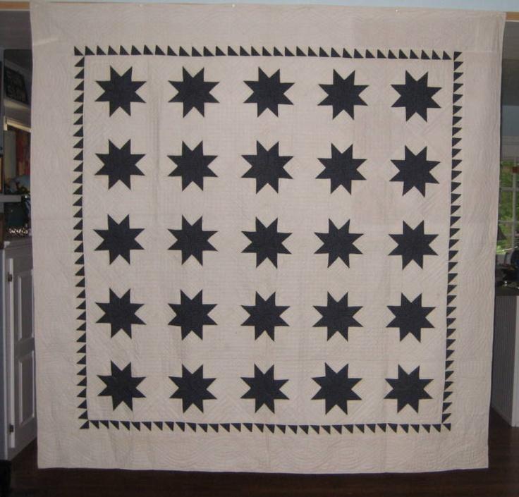 ANTIQUE INDIGO AND WHITE STARS QUILT ~ VIRGINIA | eBay