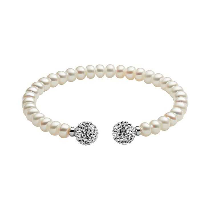 Freshwater by Honora Sterling Silver Freshwater Cultured Pearl and Crystal Cuff Bracelet, Women's, White