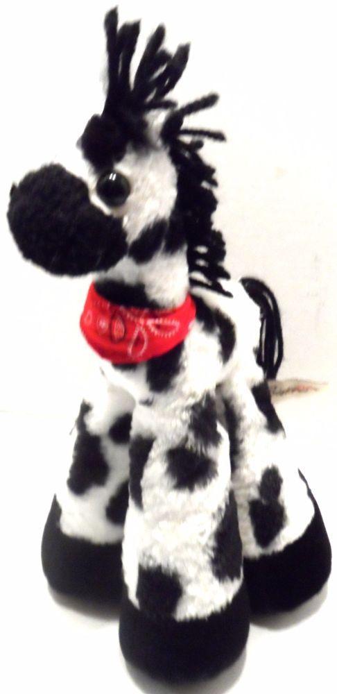 """Plush Horse Bestever Black White Stuffed Animal Toy long legs pellets 12""""  #BesteverShellyAdventures"""