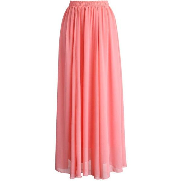Chicwish Candy Pink Chiffon Maxi Skirt (50 AUD) ❤ liked on Polyvore featuring skirts, bottoms, maxi skirts, saias, pink, red chiffon maxi skirt, pink pleated skirt, long skirts, long pleated skirt and pleated chiffon maxi skirts