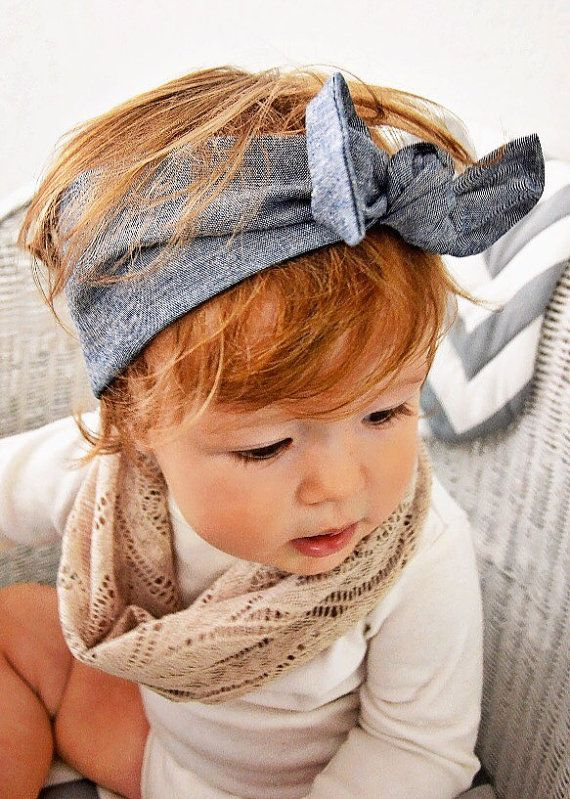 Stretch Denim Headband that goes with everything! Size Newborn to adult.