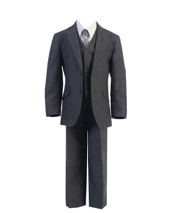 692 - Charcoal 2 Button Slim Fit Suit - Boys