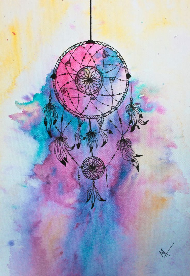 Dream Catcher, Media - Watercolor and black sketch pen ...