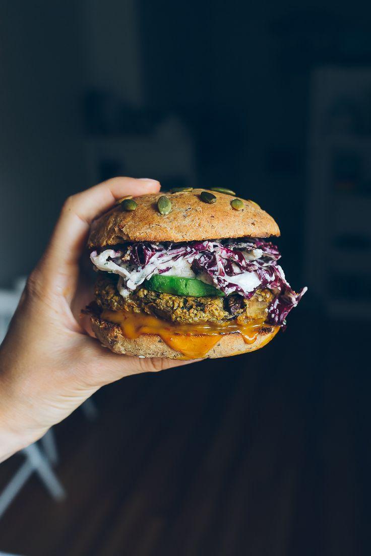 veggie burger with sweet & tangy mustard sauce + radicchio slaw