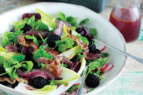 Seared steak with pancetta and blackberry vinegar recipe http://womans-world.co.uk/index.php/recipes/1767-seared-steak-with-pancetta-and-blackberry-vinegar-recipe-34093274