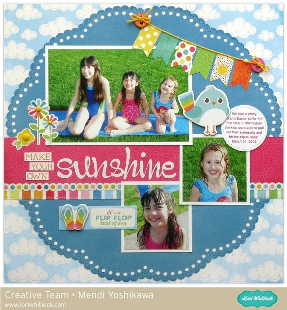 Lori Whitlock Blog Hop: Echo Park I Love Sunshine Layout by Mendi Yoshikawa