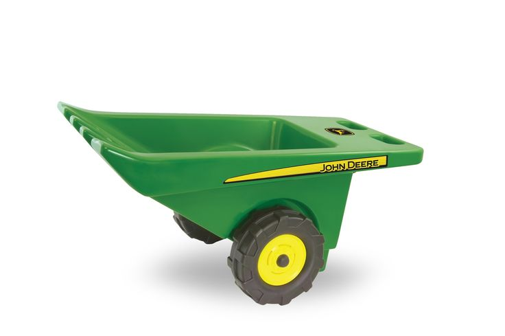 "John Deere Wheelbarrow Toy. Tip, Kick and Load. Dual wheels for easy balance. Strong hand grips. ""No Rust"" design - molded plastic. For children 2 years and up."