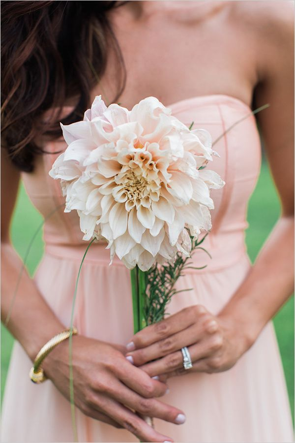 pink dahlia bridesmaid single flower bouquet